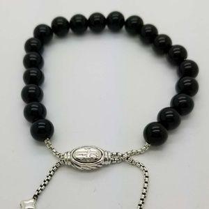 DY Sterling Silver  Beaded Bracelet Black Onyx